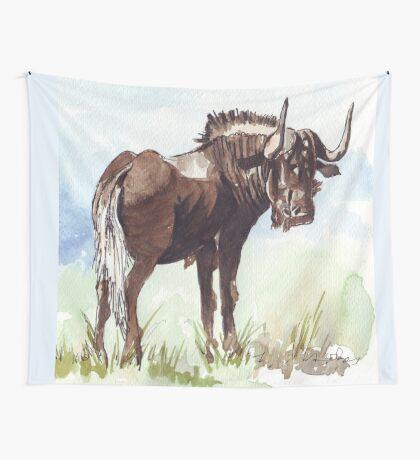 Black Wildebeest (Connochaetes gnou) Wall Tapestry