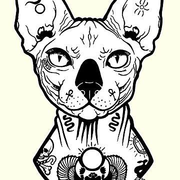 sphynx tattooed by PaperTigressArt