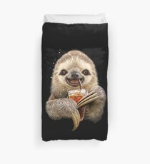 Funny sloth drinking Duvet Cover