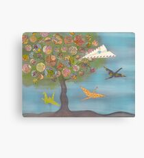 Boy in a Paper Plane flying into the World Map Tree Canvas Print