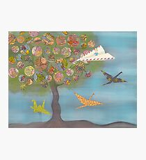 Boy in a Paper Plane flying into the World Map Tree Photographic Print
