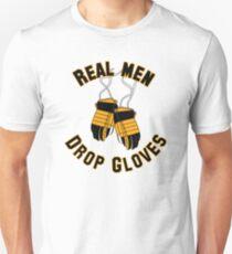 Ice Hockey, Real Men Drop Gloves - Yellow & Black T-Shirt