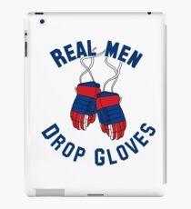 Ice Hockey, Real Men Drop Gloves - Red & Blue iPad Case/Skin