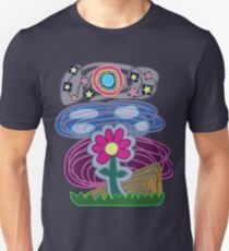 Flor Estrellas Cuadros Unisex T-Shirt