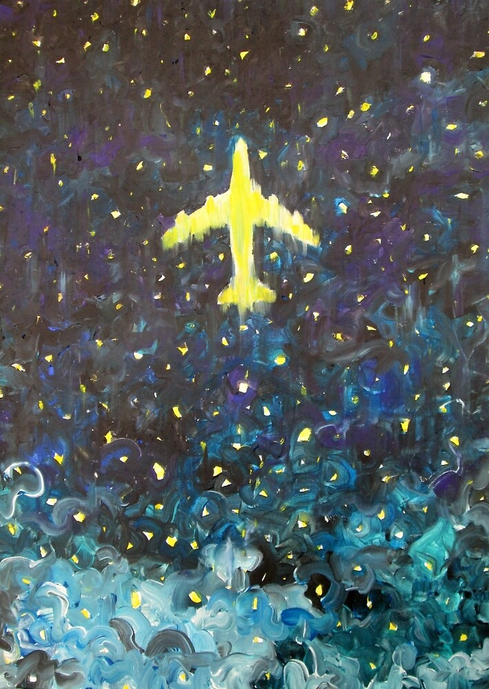 AIRPLANE in the starry NIGHT by lautir