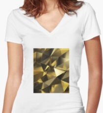 Abstract gold  Women's Fitted V-Neck T-Shirt