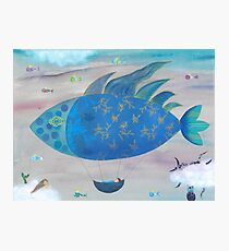 Flying Fish in Sea of Clouds with Sleeping Child Photographic Print