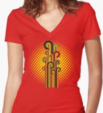 Retro Abstract Floral Women's Fitted V-Neck T-Shirt