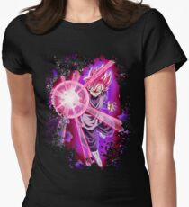 Black Goku Super Saiyan Rose Womens Fitted T-Shirt