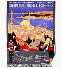Vintage Simplon Orient Express London Constantinople Poster