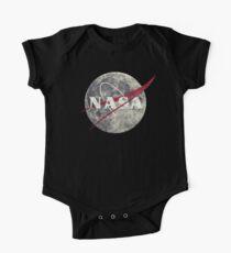 NASA Moon Vintage Emblem Short Sleeve Baby One-Piece