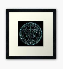 Human Transmutation Circle - turquoise grunge Framed Print