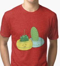 Happy Cactus pots Tri-blend T-Shirt