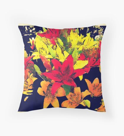 Large Bunch of Flowers Throw Pillow