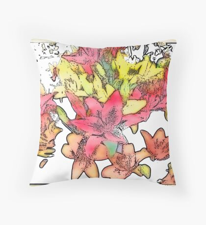 Large Bunch of Flowers - pastel shades  Throw Pillow