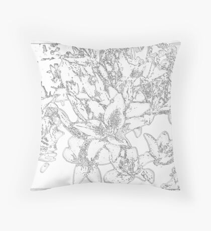 Large Bunch of Flowers - pencil sketch  Throw Pillow