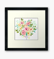 Pretty Peach Watercolor Floral Framed Print