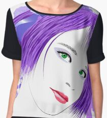 Girl with lilac hair and green eyes Chiffon Top