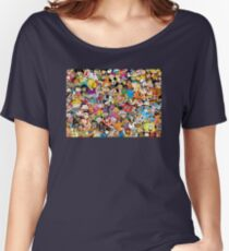 Collage of 90's and 2000's cartoons from Nickelodeon, Disney Channel, Cartoon Network, Jetix, Disney XD, and more Women's Relaxed Fit T-Shirt