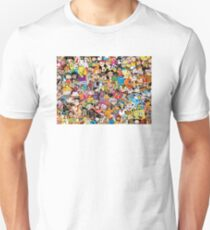 Collage of 90's and 2000's cartoons from Nickelodeon, Disney Channel, Cartoon Network, Jetix, Disney XD, and more T-Shirt