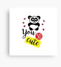 Cute panda and heart Canvas Print