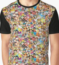 Collage of 90's and 2000's cartoons from Nickelodeon, Disney Channel, Cartoon Network, Jetix, Disney XD, and more Graphic T-Shirt