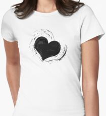 Sheer Elegance Black Hearts & Lace Womens Fitted T-Shirt