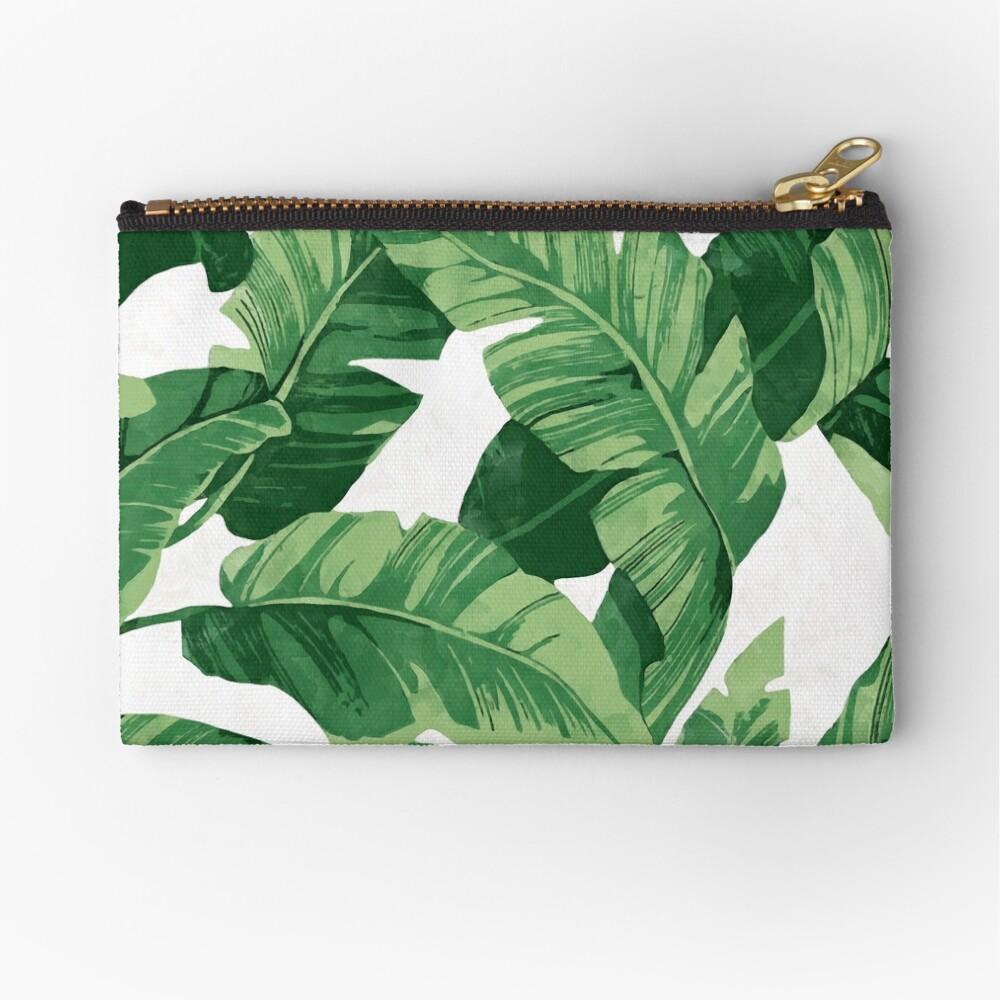 Tropical banana leaves II Zipper Pouch
