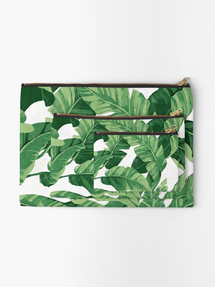 Alternate view of Tropical banana leaves II Zipper Pouch