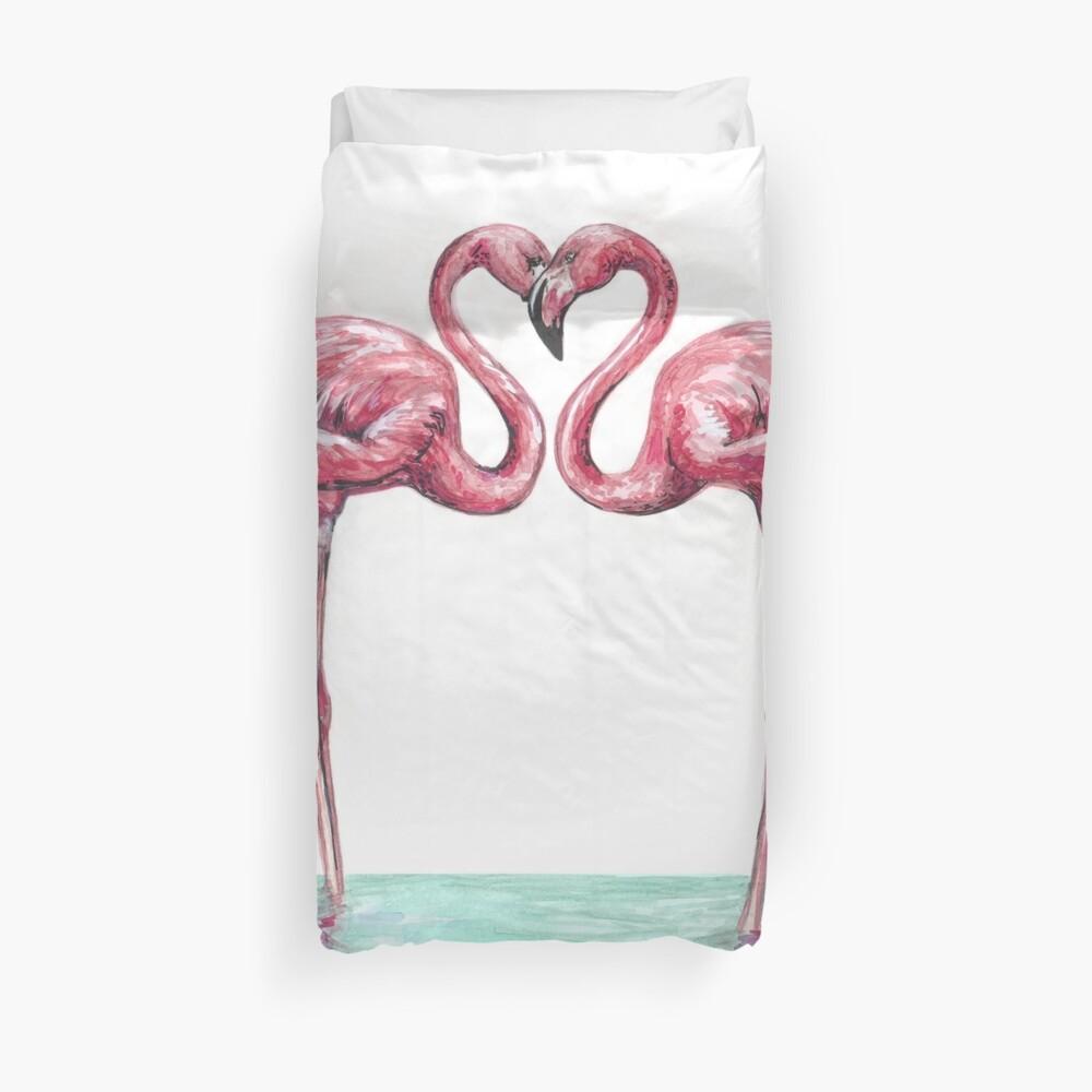 Flamencos rosas enamorados Funda nórdica