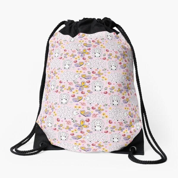 Hedgehogs and Butterflies Drawstring Bag