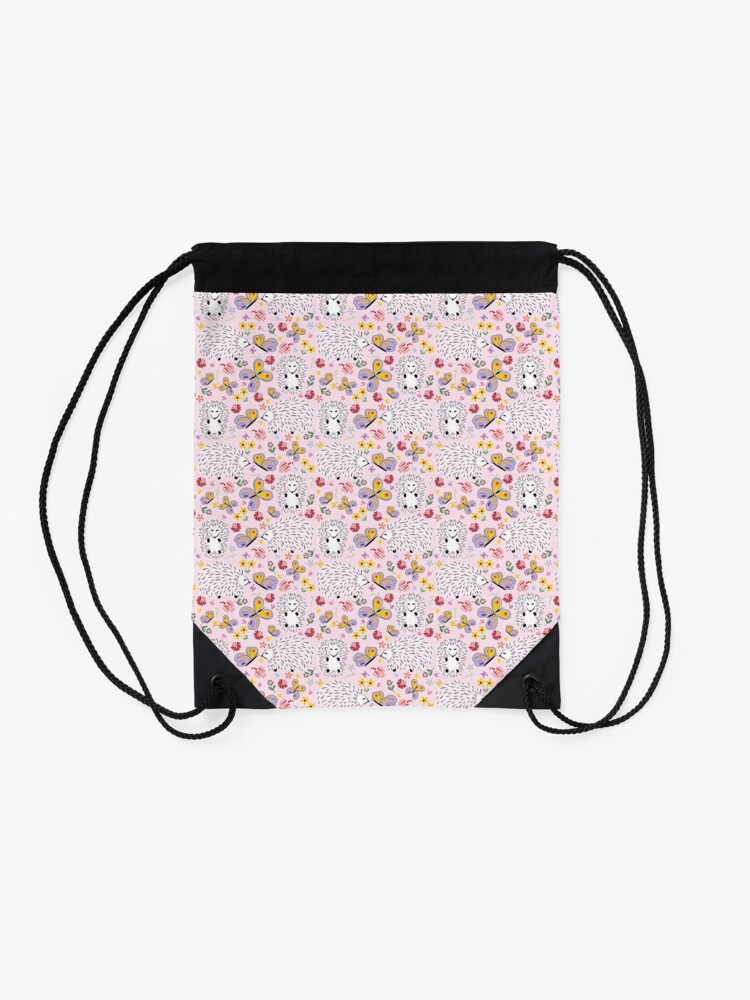 Alternate view of Hedgehogs and Butterflies Drawstring Bag