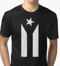 Puerto Rico Black & White Protest Flag Tri-blend T-Shirt