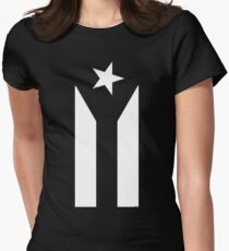Puerto Rico Black & White Protest Flag Womens Fitted T-Shirt