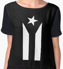Puerto Rico Black & White Protest Flag Women's Chiffon Top