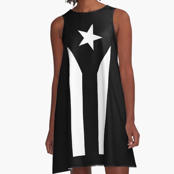 Puerto Rico Black & White Protest Flagge A-Linien Kleid