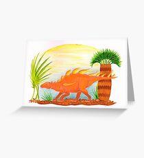 My little Orange Kentrosaurus Greeting Card