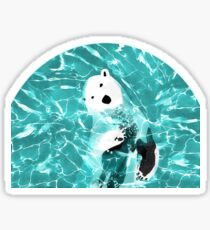 Playful Polar Bear In Turquoise Water Design  Sticker