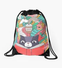 Cat reading a book. Drawstring Bag