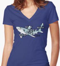 Oceanic Whitetip Squad Women's Fitted V-Neck T-Shirt