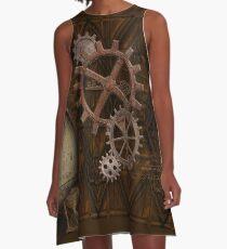 Steampunk Gears on Coppery-look Geometric Design A-Line Dress