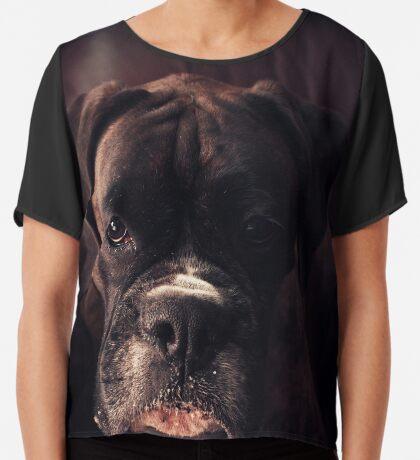 Porträt eines weiblichen Boxers - Boxer Dogs Series Chiffontop für Frauen