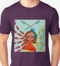 Girls of the Future choose Swedish Fish over Real Food woodcut print Unisex T-Shirt