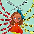 Girls of the Future choose Swedish Fish over Real Food woodcut print by Una Scott
