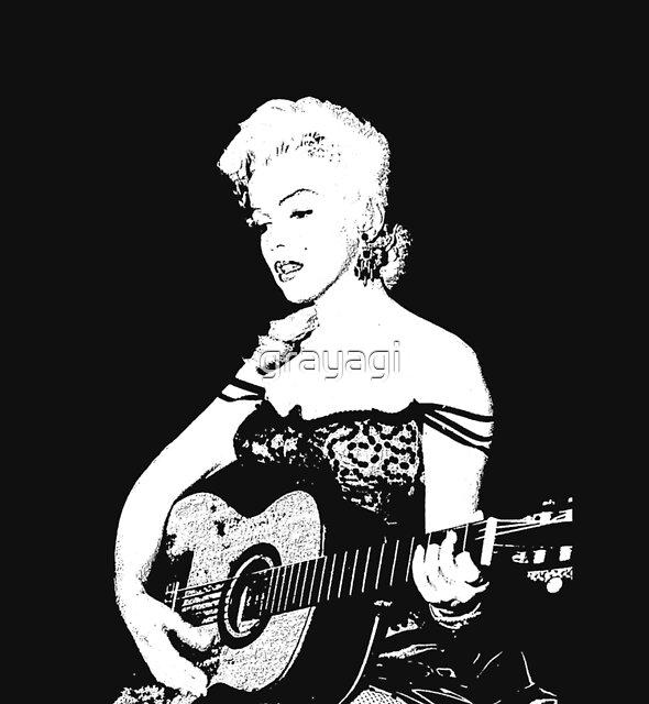 Marilyn Plays Guitar by grayagi