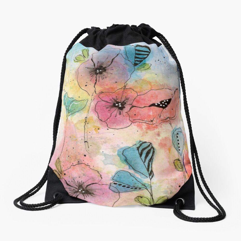 Wild Garden Drawstring Bag Front