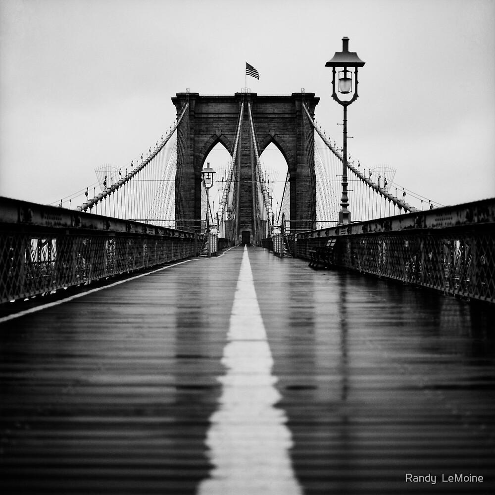 Brooklyn Bridge In Rain by Randy  LeMoine