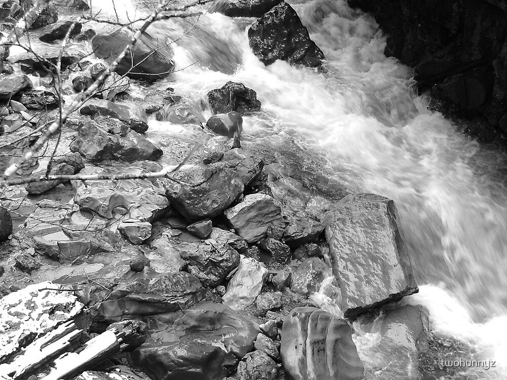 River Rocks- black & White by twohunnyz