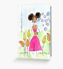 Tia Blowing Bubbles, So Happy  Greeting Card