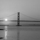 The Forth Road Bridge at Sunset - B&W by Tom Gomez
